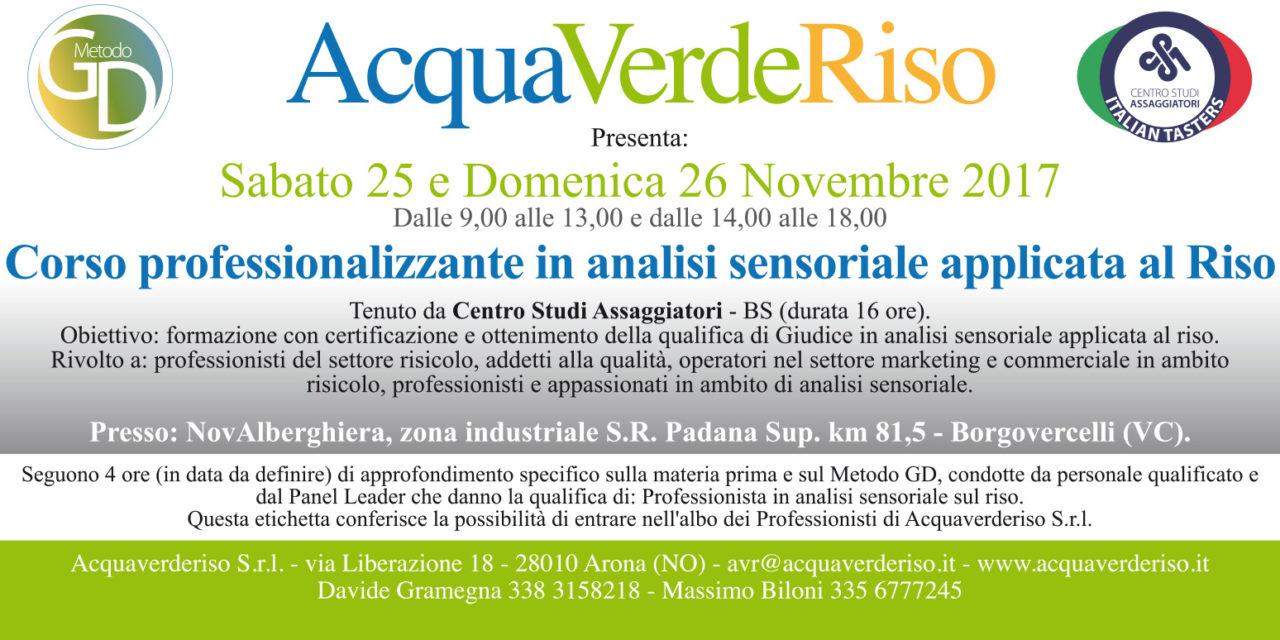 25/26 novembre 2017 – Corso professionalizzante in analisi sensoriale applicata al Riso